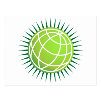 Spiked Green Globe Icon Postcard