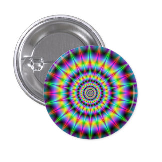 Spiked Psychedelic Rings Button