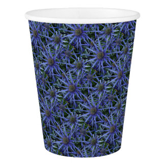 SPIKY BLUE SEA HOLLY FLOWER Paper Cups