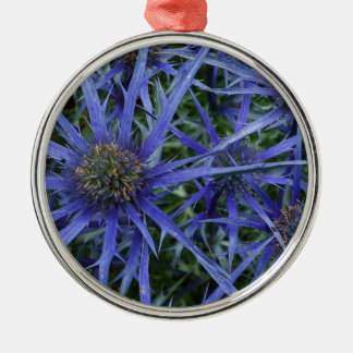 SPIKY BLUE SEA HOLLY FLOWER Silver Round Ornament