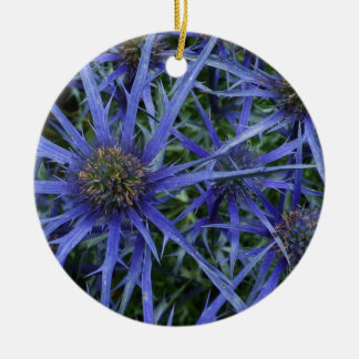 SPIKY BLUE SEA HOLLY Round Ceramic Decoration