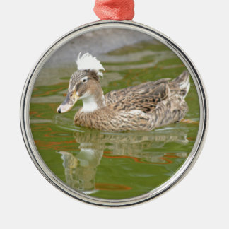 Spiky haired duck Silver-Colored round decoration