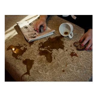 Spilled Coffee . . . Good Morning World Postcard