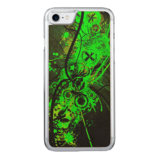 spilled radioactive green color abstract art carved iPhone 7 case