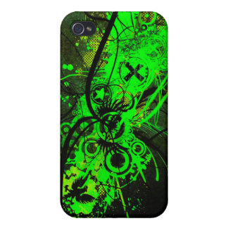 spilled radioactive green color abstract art iPhone 4/4S cases