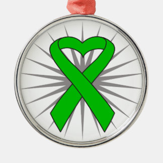 Spinal Cord Injury Awareness Heart Ribbon Silver-Colored Round Decoration