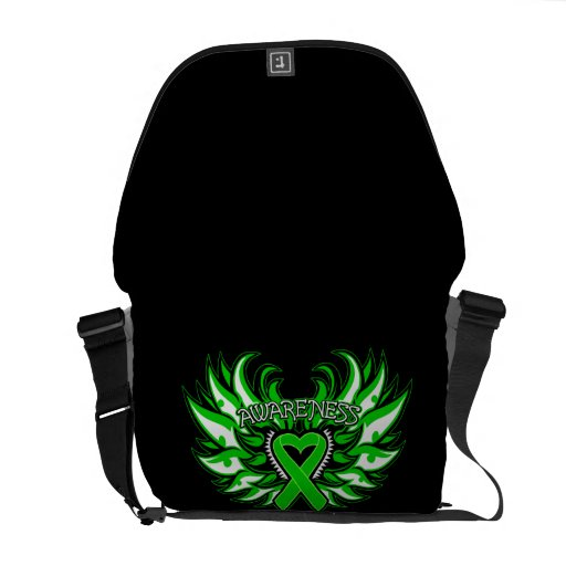 Spinal Cord Injury Awareness Heart Wings Courier Bags