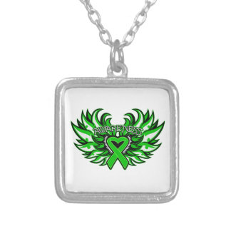 Spinal Cord Injury Awareness Heart Wings Square Pendant Necklace