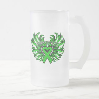 Spinal Cord Injury Awareness Heart Wings.png Frosted Glass Mug