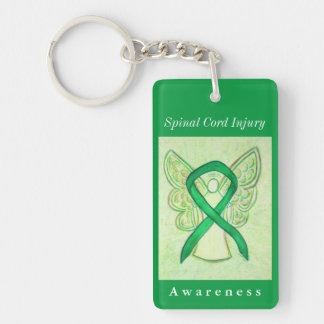 Spinal Cord Injury Awareness Ribbon Angel Keychain