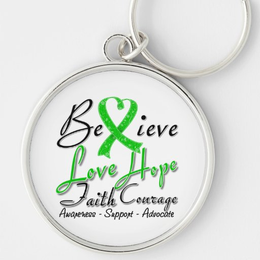 Spinal Cord Injury Believe Heart Collage Keychain