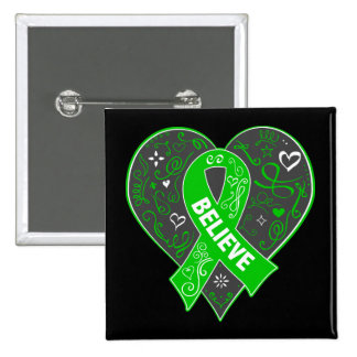 Spinal Cord Injury Believe Ribbon Heart 15 Cm Square Badge