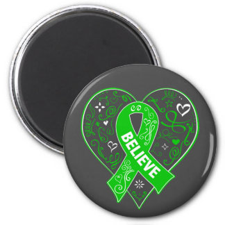 Spinal Cord Injury Believe Ribbon Heart 6 Cm Round Magnet