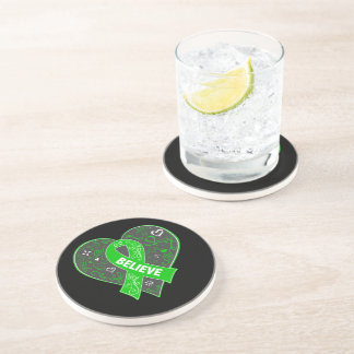 Spinal Cord Injury Believe Ribbon Heart Drink Coaster