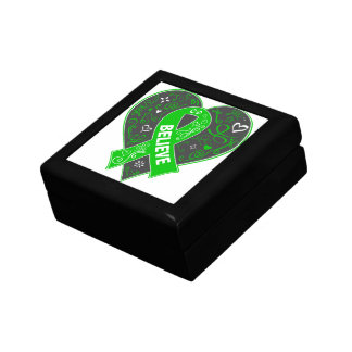 Spinal Cord Injury Believe Ribbon Heart Small Square Gift Box