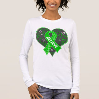Spinal Cord Injury Believe Ribbon Heart Long Sleeve T-Shirt