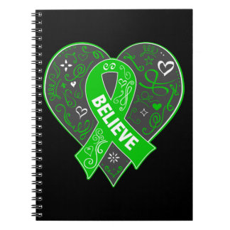 Spinal Cord Injury Believe Ribbon Heart Spiral Notebooks