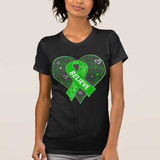 Spinal Cord Injury Believe Ribbon Heart T-Shirt