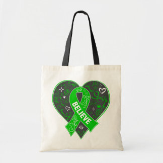 Spinal Cord Injury Believe Ribbon Heart Budget Tote Bag