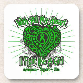 Spinal Cord Injury Heart I Fight Like A Girl Drink Coaster