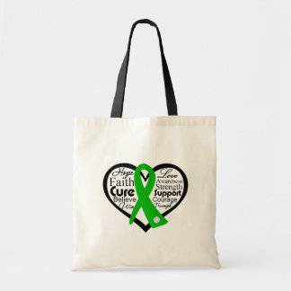 Spinal Cord Injury Heart Ribbon Collage Canvas Bags