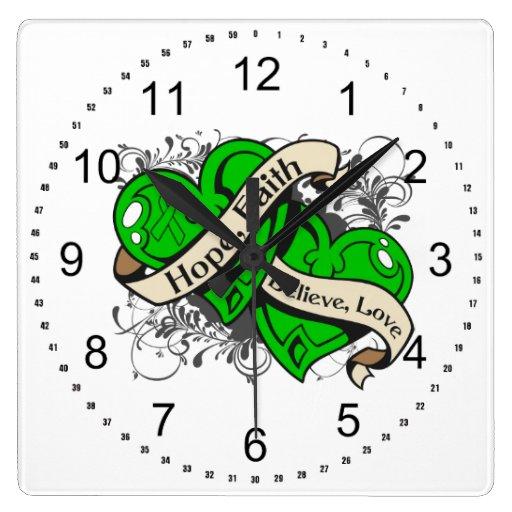 Spinal Cord Injury Hope Faith Dual Hearts Clock