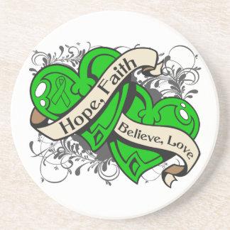 Spinal Cord Injury Hope Faith Dual Hearts Beverage Coaster