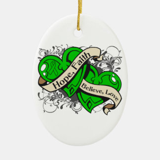 Spinal Cord Injury Hope Faith Dual Hearts Double-Sided Oval Ceramic Christmas Ornament
