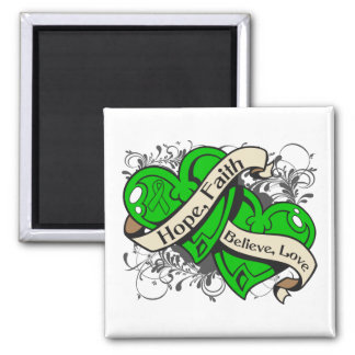 Spinal Cord Injury Hope Faith Dual Hearts Square Magnet