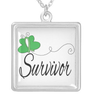 Spinal Cord Injury Survivor Butterfly Ribbon Square Pendant Necklace