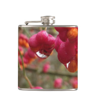 Spindle Fruit And Rain Drops Hip Flasks