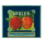 Spinner Fruit Apple Label - Yakima, WA Posters