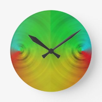 Spinning colours in reflection round clock