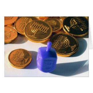 Spinning Dreidel with Gelt chocolate coins Greeting Cards