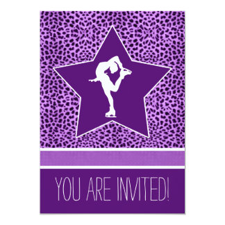 Spinning Figure Skater with Purple Cheetah Print 13 Cm X 18 Cm Invitation Card