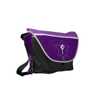 Spinning Figure Skater with Purple Cheetah Print Commuter Bags