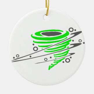 Spinning green tornado christmas ornament