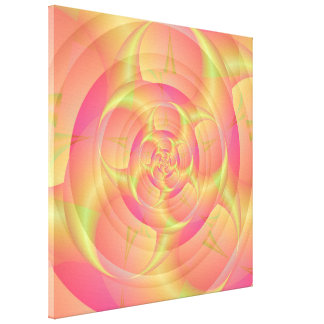 Spinning Horns in Pink and Yellow Stretched Canvas Prints
