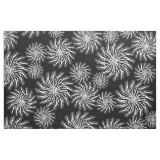 Spinning stars energetic pattern black and white fabric