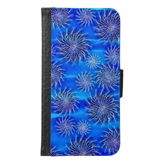 Spinning stars energetic pattern blue wallet case