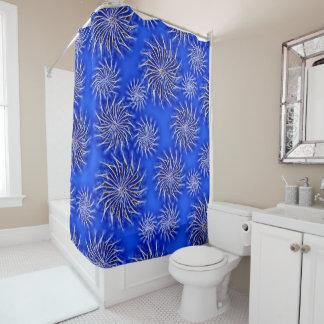 Spinning stars energetic pattern dark blue curtain shower curtain