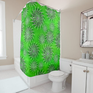 Spinning stars energetic pattern green curtain shower curtain