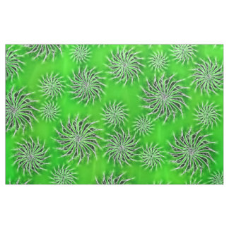 Spinning stars energetic pattern green fabric