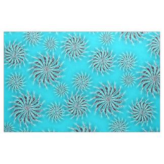 Spinning stars energetic pattern light blue fabric