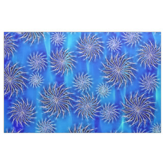 Spinning stars energetic pattern mixed blue fabric