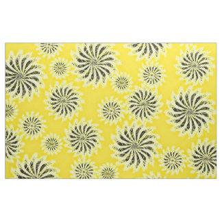 Spinning stars energetic pattern yellow fabric
