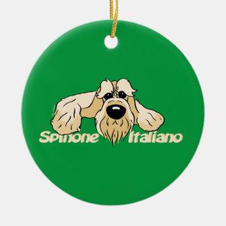 Spinone Italiano brightly head Cute Round Ceramic Decoration