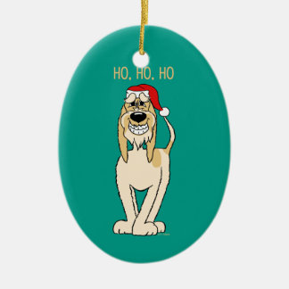 Spinone Italiano brightly Santa Ceramic Oval Decoration
