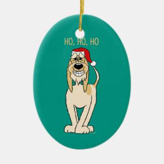 Spinone Italiano brightly Santa Christmas Ornament
