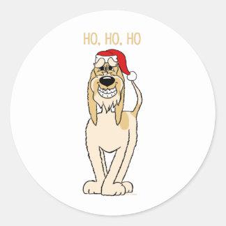 Spinone Italiano brightly Santa Classic Round Sticker